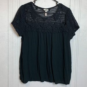 Knox Rose Black Crochet Embellished Top